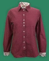 Grenouille Ladies Long Sleeve Maroon and Cream Polka Dot Shirt with Rose Print Details